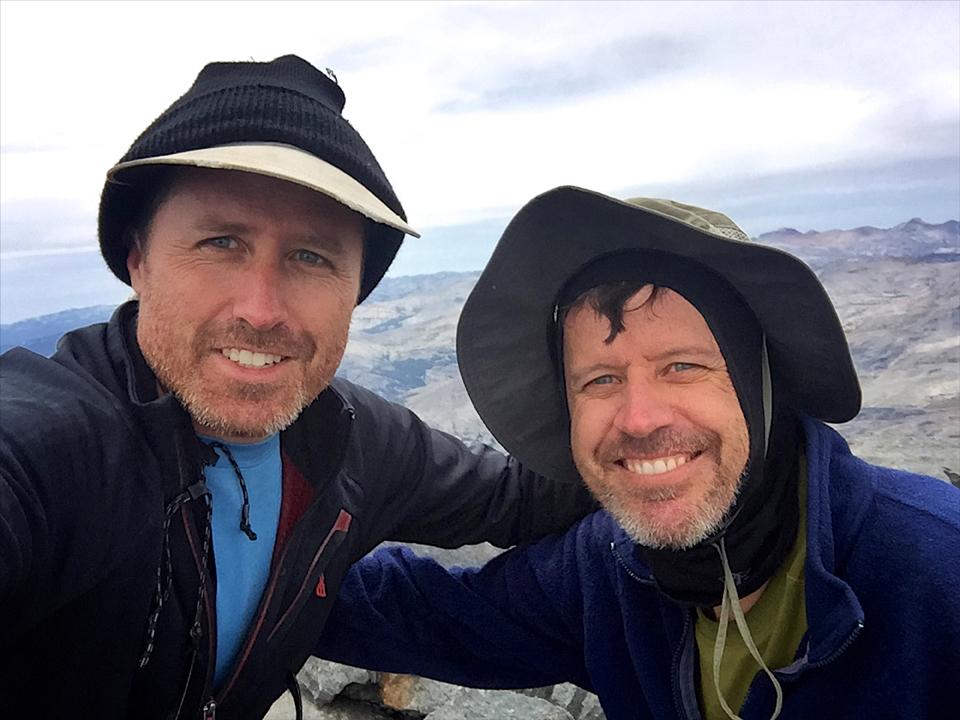 Dan and Matt Johanson celebrate reaching the summit of Mt. Ritter.
