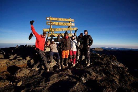 The Badjao team celebrates reaching the summit of Mt. Kilimanjaro.